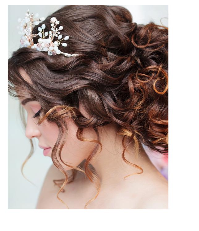 Brown hair woman with wedding haircut