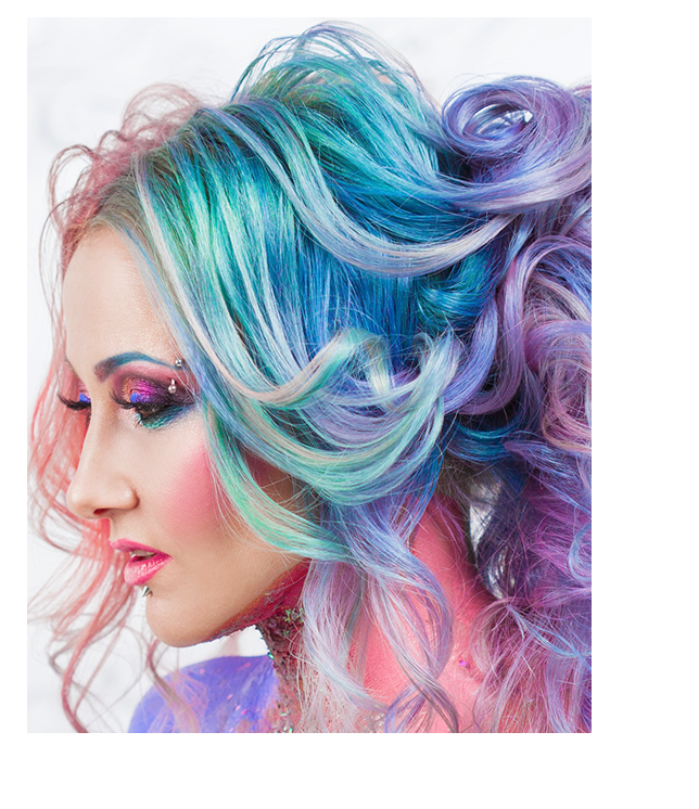 Woman with blue-unicorn hair