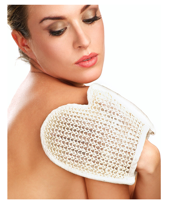 Woman use exfoliating glove