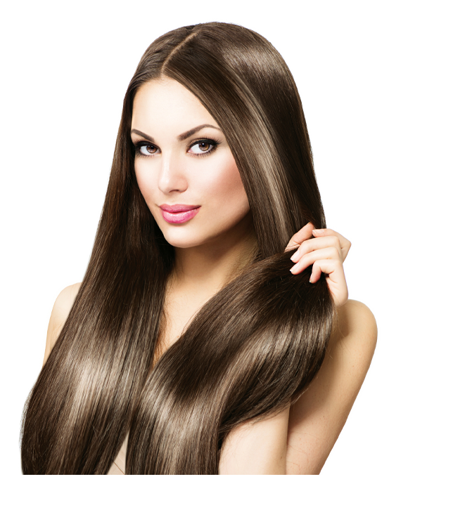 Women with long brow hair